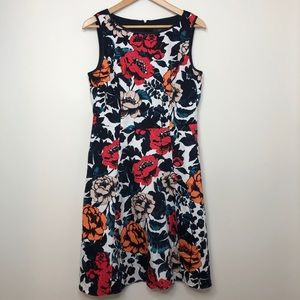 Adrianna Papell Navy Floral Fit & Flare Dress